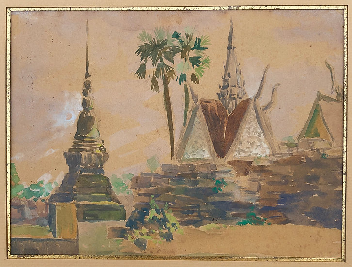 Antique Watercolor c.1900/1920 Landscape THAILAND Siam Temple Border Cambodia