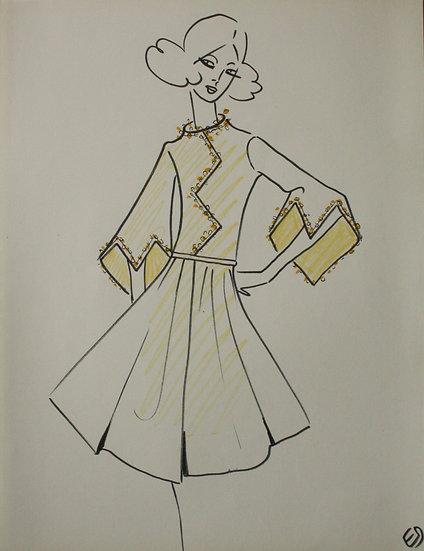 Jean Eden - Dessin original, c.1970 - Croquis Mode Femme Robe #23