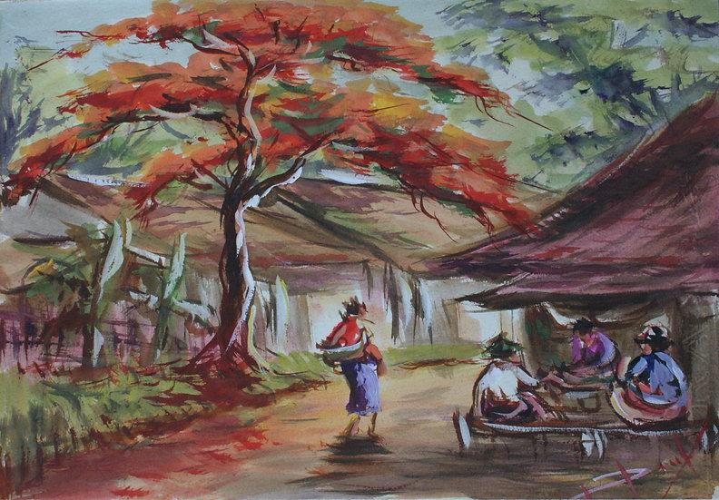 aquarelle vintage asie sud-est