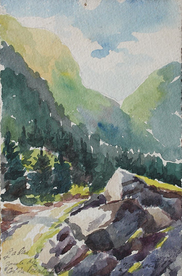 "Monique Perrot - Original Antique Watercolor 1917 ""French Landscape, Col du Pourtalet in Gabas"" Pyrenees #19"
