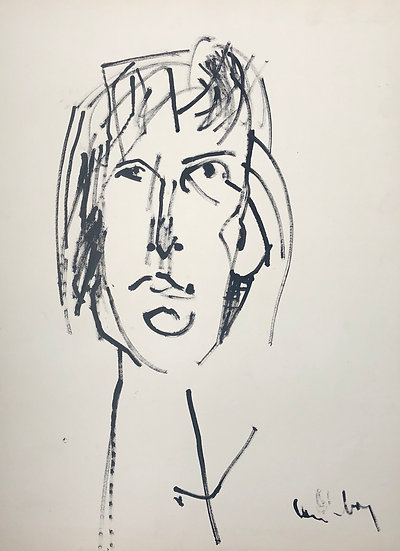 "David Lan-Bar (1912-1987) - ""Portrait"" - Large Drawing #11"