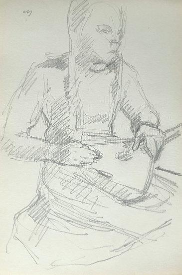 François Lanos - Original Vintage Drawing - 1950s #14