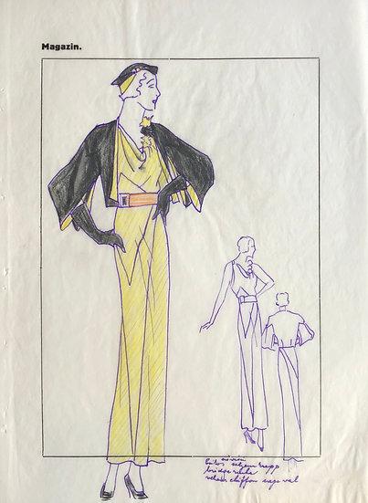 """Dessin Original, Années 1950 - """"Croquis de Mode"""" #16"""