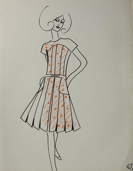 Jean Eden - Dessin original, c.1970 - Croquis Mode Femme Robe #33