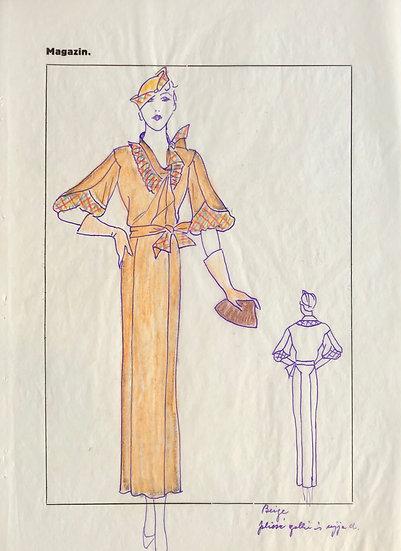 """Dessin Original, Années 1950 - """"Croquis de Mode"""" #1"""