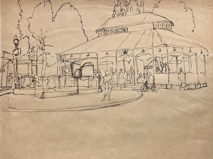 """View of Paris"" - Original Vintage Drawing - 1950s"