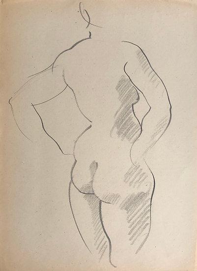 """Cesar Bolletti - Dessin Original, c. 1940 - """"Étude de Nu Féminin"""" #17"""