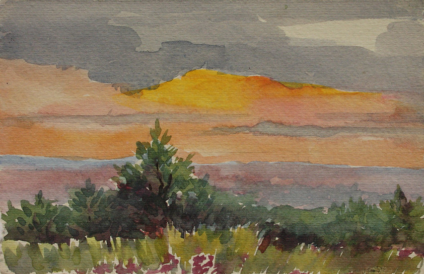 "Monique Perrot - Original Watercolor ""Frenc Landscape, near Bergerac"" Dordogne"