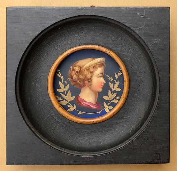 «Portrait de Jeune Femme» - Miniature XIXe