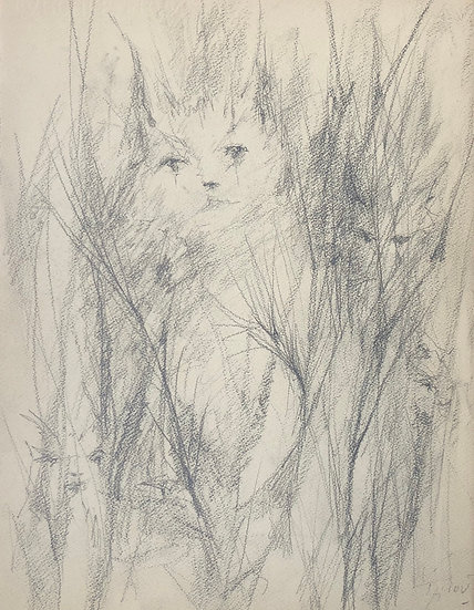 """Jacques Thiout (1913-1971) - """"Cats in tall grass"""" #13"""