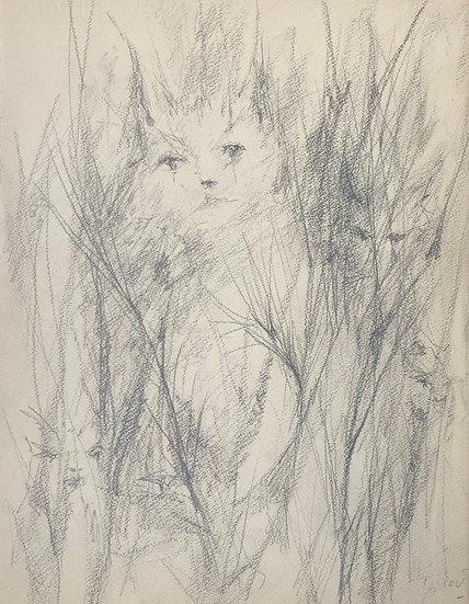 """Jacques Thiout (1913-1971) - """"Chats dans les Herbes"""" #13"""