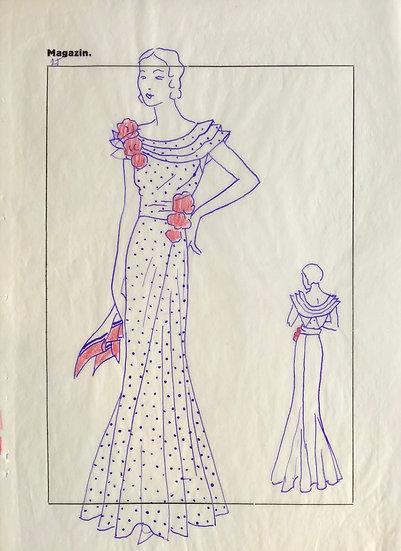 """Dessin Original, Années 1950 - """"Croquis de Mode"""" #10"""