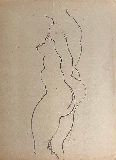 "Cesar Bolletti - Original Vintage Drawing, c.1940 - ""Female Nude Sketch"" #13"