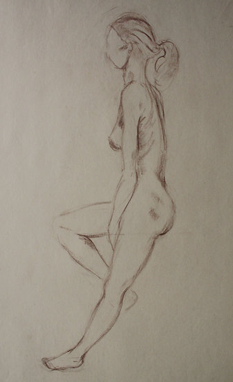 "Large Vintage Drawing, c.1950 - ""Female Nude Sketch"" #13"