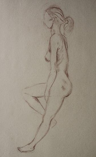 """""""Étude de Nu féminin / Femme nue"""", c.1950 - Grand Dessin au Pastel #13"""