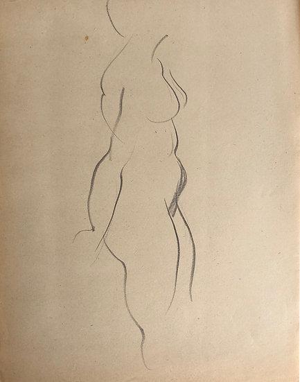 "Cesar Bolletti - Original Vintage Drawing, c.1940 - ""Female Nude Sketch"" #4"