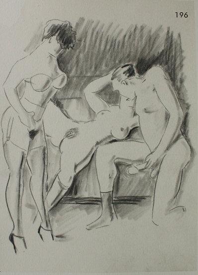 Ludwig BOCK (1886-1971) - Scène érotique - Dessin Original #9