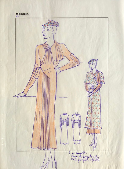 "Original Drawing, 1950s - ""Fashion Sketch"" #8"