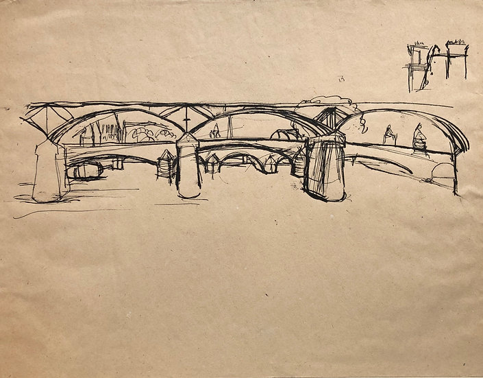 """Bridges in Paris"" - Original Vintage 1950's Drawing"