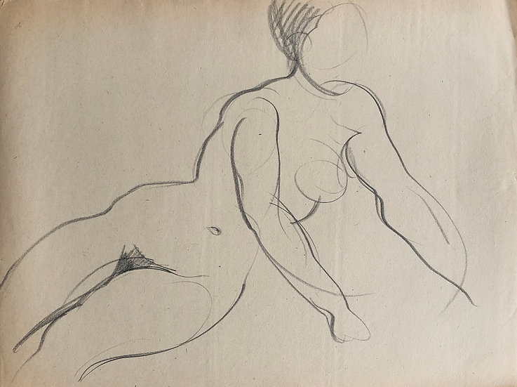 "Cesar Bolletti - Original Vintage Drawing, c.1940 - ""Female Nude Sketch"" #39"