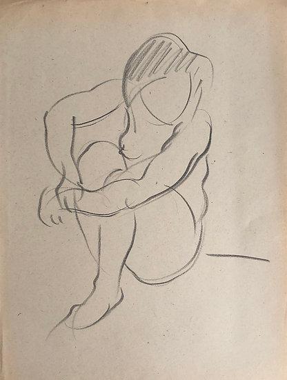 "Cesar Bolletti - Original Vintage Drawing, c.1940 - ""Female Nude Sketch"" #24"
