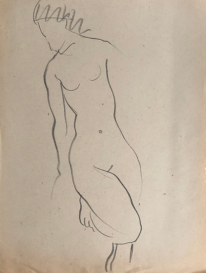 "Cesar Bolletti - Original Vintage Drawing, c.1940 - ""Female Nude Sketch"" #22"