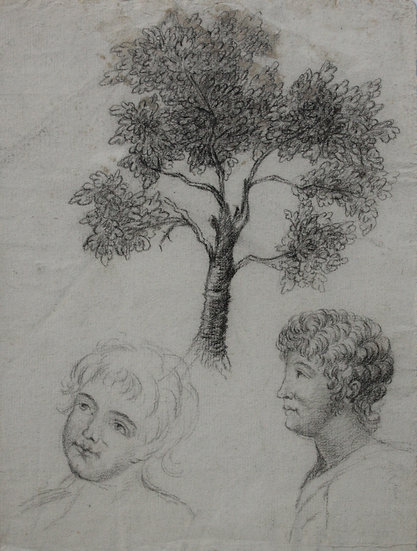 "Antique 18thC Drawing - ""Study of tree and portraits"""