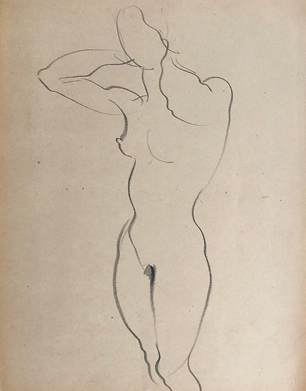 "Cesar Bolletti - Original Vintage Drawing, c.1940 - ""Female Nude Sketch"" #20"