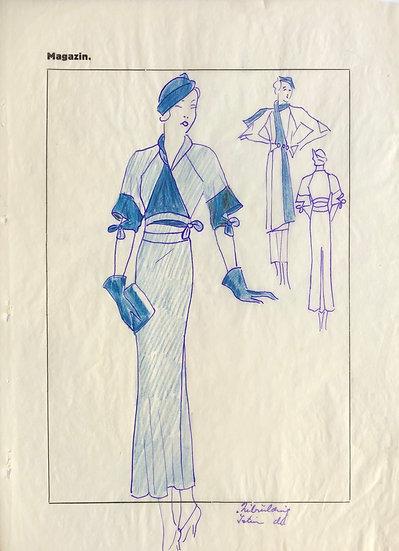 """Dessin Original, Années 1950 - """"Croquis de Mode"""" #4"""