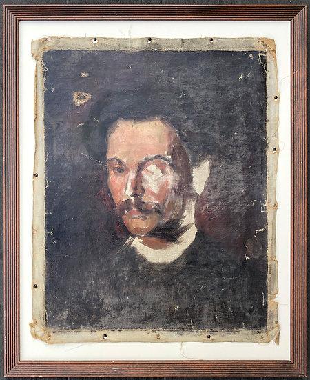 """""""Portrait of a Man"""" - 19thC Antique Painting"""