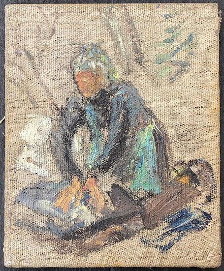 "René Brochard (1926) - Peinture 1950 - ""Lavandière"""