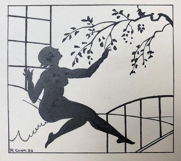 """Raoul CHAVE - """"Nu féminin dans un paysage"""" 1926 Silhouette - Dessin Ancien Encre"""