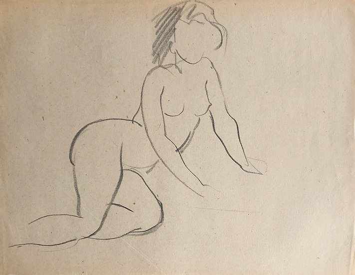 "Cesar Bolletti - Original Vintage Drawing, c.1940 - ""Female Nude Sketch"" #46"