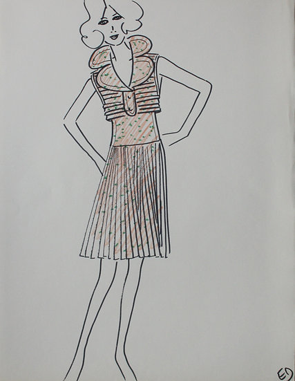 "Jean Eden - Original Vintage Drawing, c.1970 - ""Fashion Sketch"" #3"