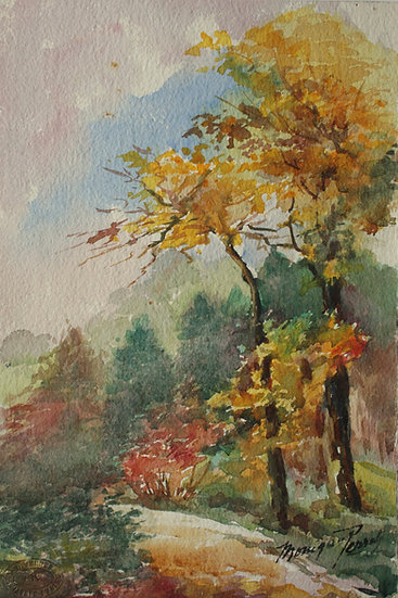 "Monique Perrot, Original Watercolor - ""French Landscape : Bois de Peymilou, near Bergerac"""