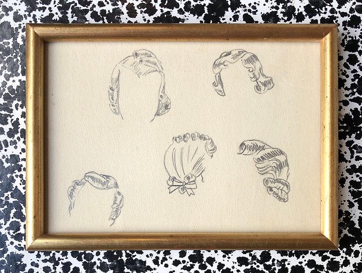 """Hairstyle Studies"" - Original Drawing, Art Deco"