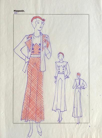 """Dessin Original, Années 1950 - """"Croquis de Mode"""" #14"""