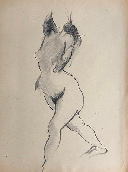 "Cesar Bolletti - Original Drawing, c.1940 - ""Female Nude Sketch"" #34"
