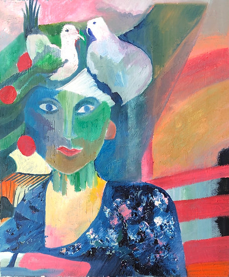 """""""Woman with Doves"""" - Oil painting on canvas"""