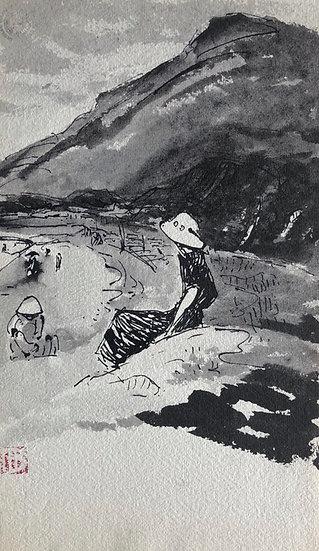 """Marcel Bernanose - Dessin - """"Paysage"""" Cap Saint Jacques ? - Indochine / Vietnam"""