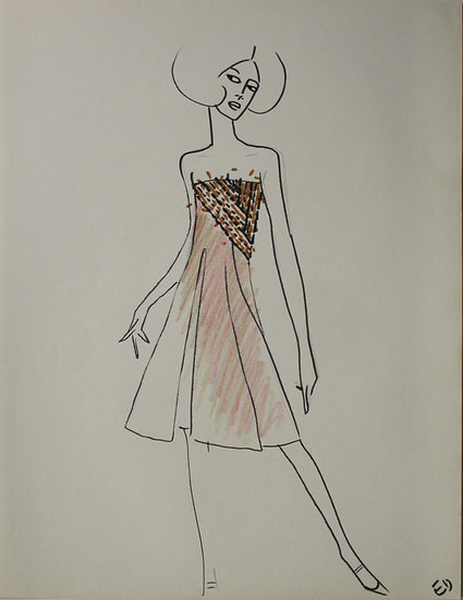 "Jean Eden - Original Vintage Drawing, c.1970 - ""Fashion Sketch"" #29"