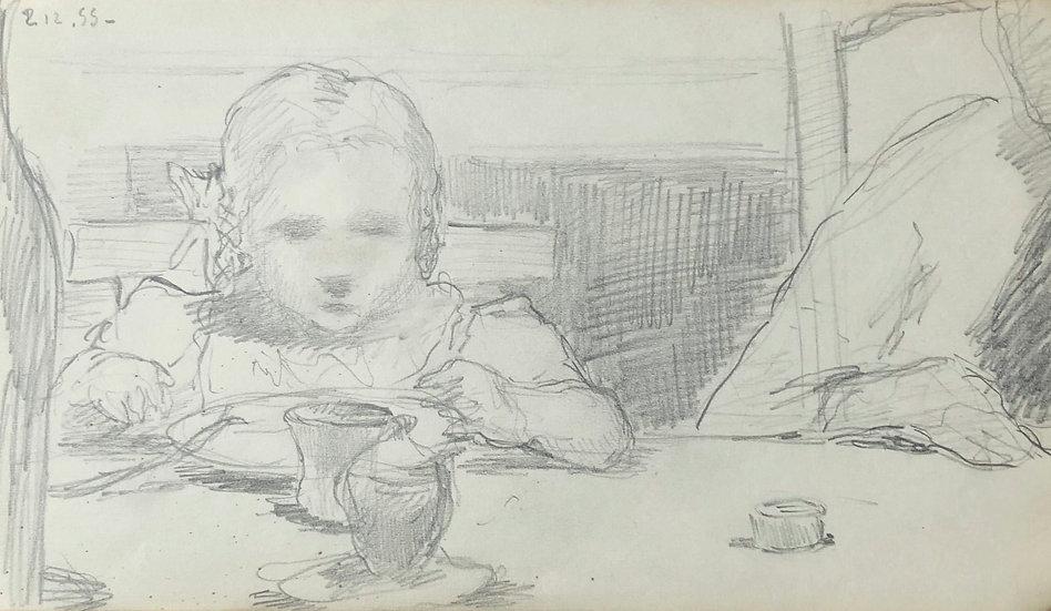 François Lanos - Original Vintage Drawing - 1955 #1