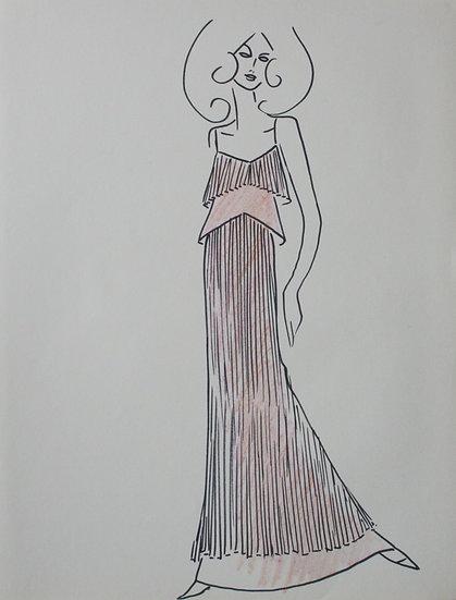 Jean Eden - Dessin original, c.1970 - Croquis Mode Femme Robe #1