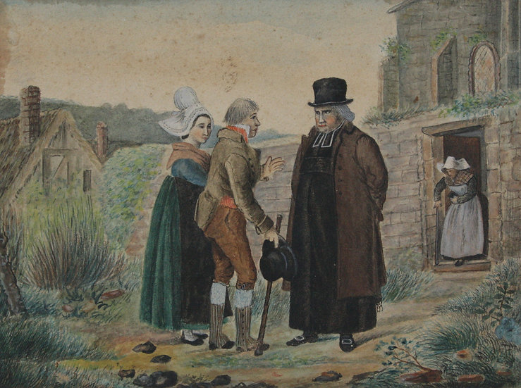 """Antique 19thC watercolor - """"Couple and priest in a landscape"""""""
