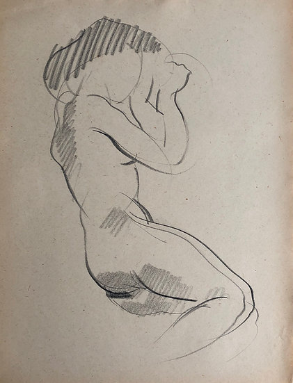 "Cesar Bolletti - Original Vintage Drawing, c.1940 - ""Female Nude Sketch"" #1"