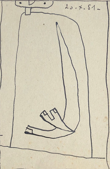 RENÉ AUDEBÈS (1922-1993) - Small Vintage Drawing 1951 #2