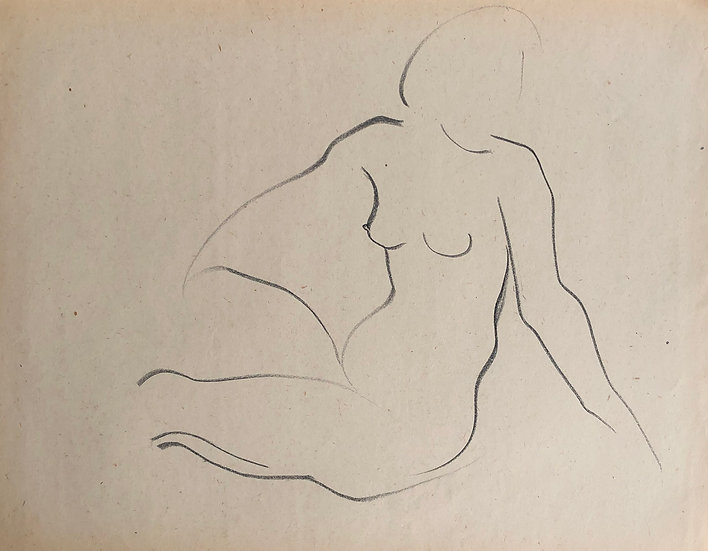 "Cesar Bolletti - Original Vintage Drawing, c. 1940 - ""Female Nude Sketch"" #45"