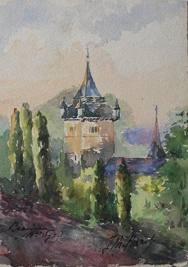 """Monique Perrot - Aquarelle originale - """"Église de Beaudéan"""" Pyrénées #10"""