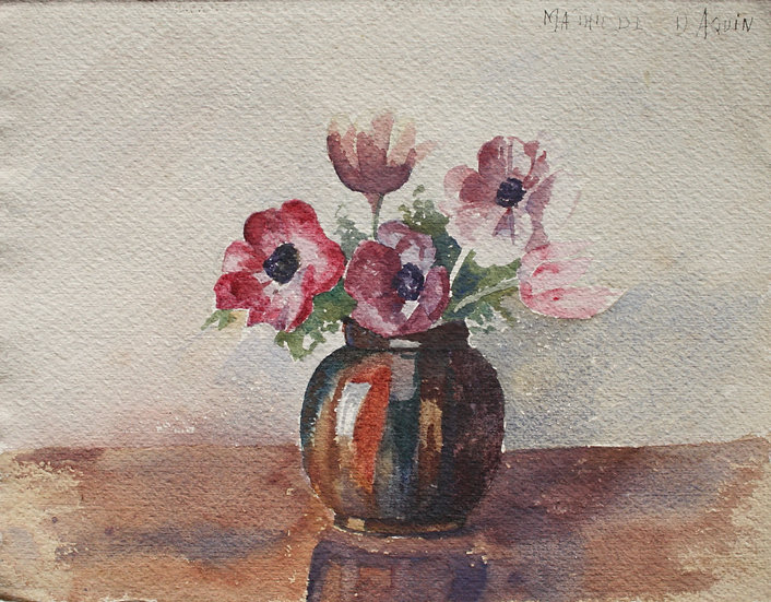 "MATHILDE DAQUIN - ""Bouquet of Flowers"" - art Deco Watercolor, c.1930 #3"