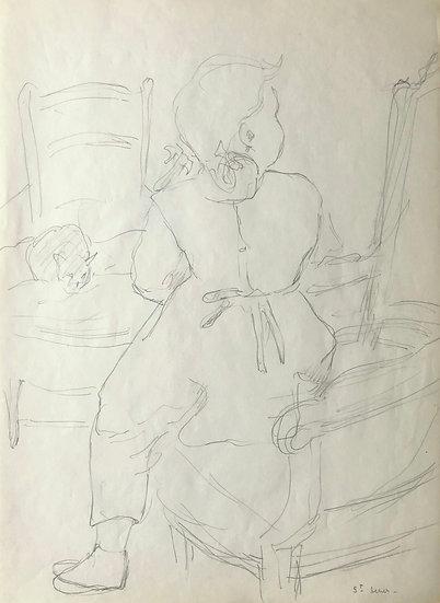 François Lanos - Original Vintage Drawing - c.1950 #25
